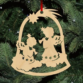 Fa karácsonyfadísz - angyalkák