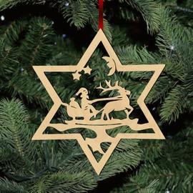 Fa karácsonyfadísz – Mikulás szánon
