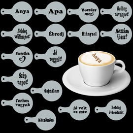 Cappuccino és kávé díszítő szöveges sablonok (16db)