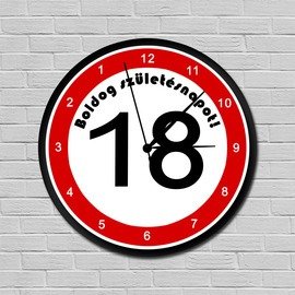 Fiatalító sebességkorlátozós falióra 18. születésnapra