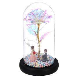 Fém örökrózsa üvegbúrában led-es gyöngyházfényű lánykérős