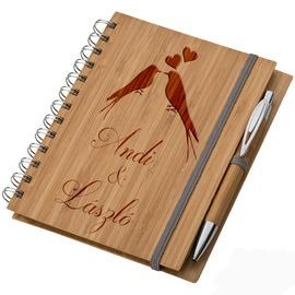 Bambusz füzet A5 + toll - Szerelmeseknek
