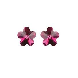 Swarovski virág bedugós fülbevaló - ciklámen