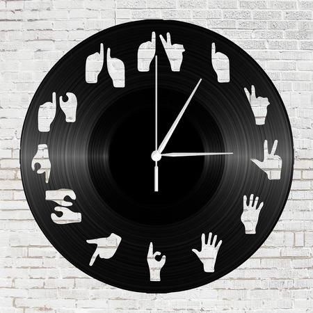 Bakelit falióra - Kreatív számlap kéz sziluettel