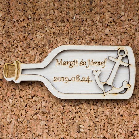 Esküvői köszönőajándék - palackba zárt horgony