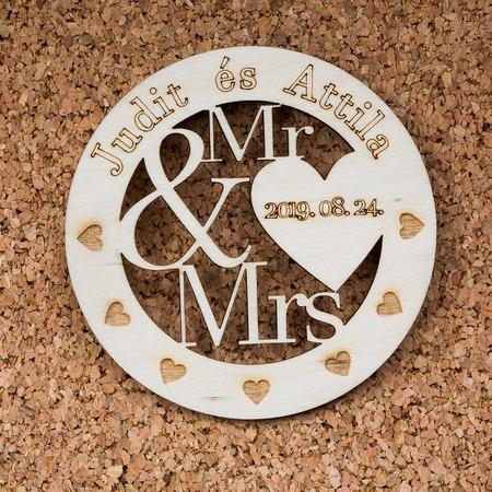 Esküvői köszönőajándék, poháralátét - Mr. & Mrs.