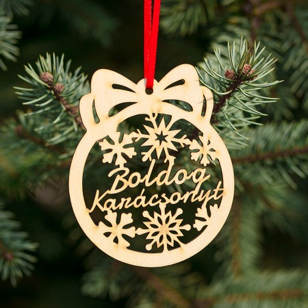Fa karácsonyfadísz – Boldog karácsonyt