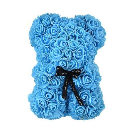 Rózsa maci - kék + Ajándék táblával