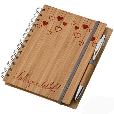 Bambusz füzet A5 + toll - Sok szeretettel