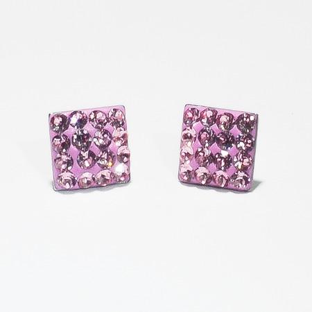 Swarovski négyzet köves bedugós fülbevaló - rózsaszín