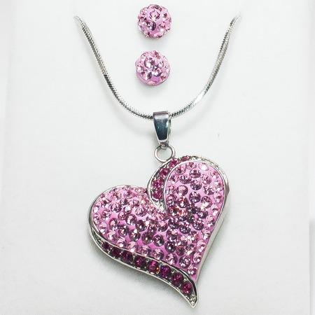 Swarovski szív medál, fülbevaló szett - rózsaszín köves