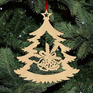 Fa karácsonyfadísz - fenyőfa haranggal