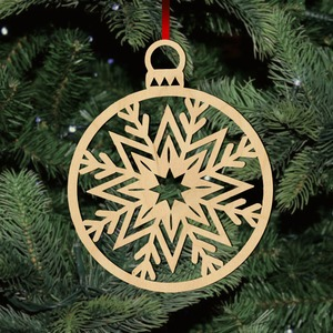Fa karácsonyfadísz - gömb hópihe