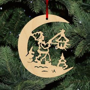 Fa karácsonyfadísz – Lámpás Holdon