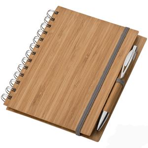 Bambusz borítós füzet + toll A5