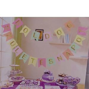 Boldog születésnapot füzér - arany/pasztell színek