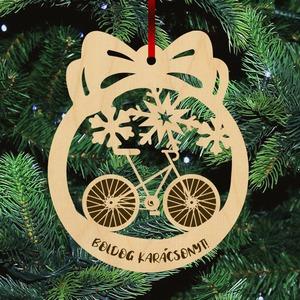 Fa karácsonyfadísz  - Bicikli