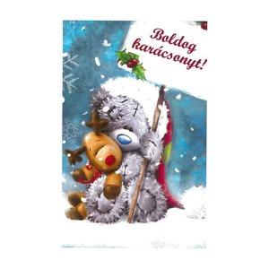 Üdvözlőlap Boldog Karácsonyt - Rudolf és Maci