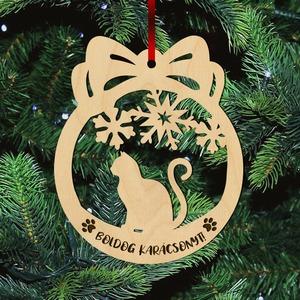 Fa karácsonyfadísz - Cicás