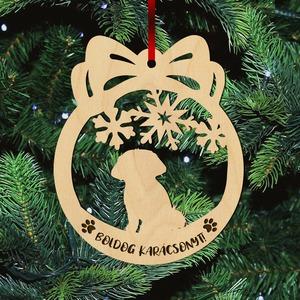 Fa karácsonyfadísz – Máltai selyemkutya