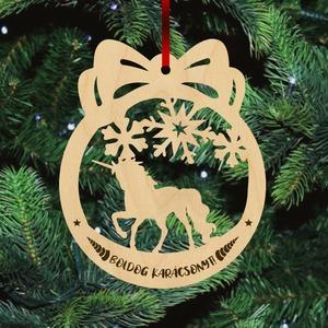 Fa karácsonyfadísz - Unikornis