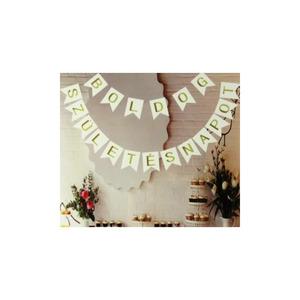 Boldog születésnapot füzér - arany/fehér