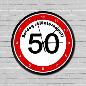 Fiatalító sebességkorlátozós falióra 50. születésnapra