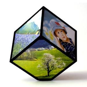 Forgó kocka képkeret 6 fotóhoz – fekete
