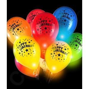Happy Birthday világító színes lufi - 5db