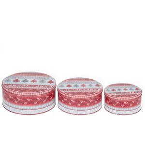 3 részes karácsonyi piros fémdoboz