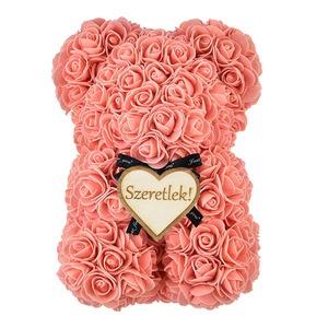 Rózsa maci - barack + Ajándék táblával