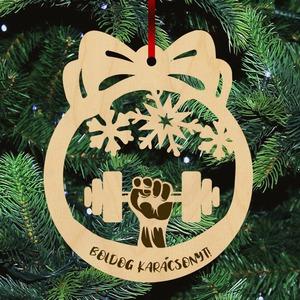 Fa karácsonyfadísz  - Súlyzó