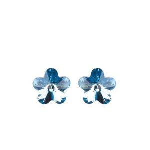 Swarovski virág bedugós fülbevaló - világoskék