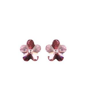 Swarovski virág bedugós fülbevaló - rózsaszín